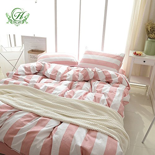 Autumn Pink Stripe Modern Duvet Cover Queen Size, Hotel 100% Cotton Bedding Set for Women, Soft and Breathable Nordic Style Comfort Cover Set by (Pink Ribbon Microfiber Bag)