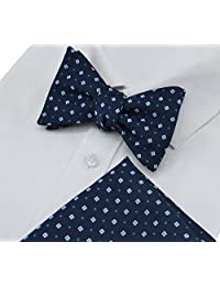 Heymei Men's Self Pre-tie Bowtie with Pocket Square Bow Tie Hanky Set THS01 (Dark Blue with Green)
