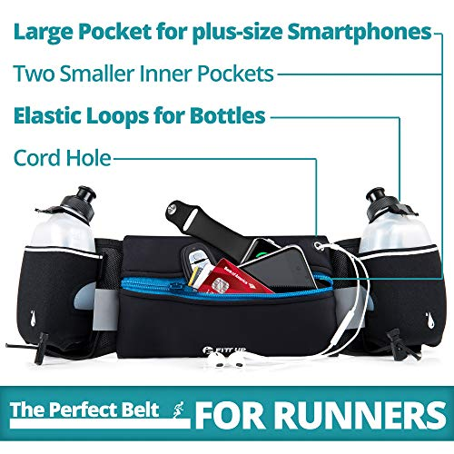 Hydration Running Belt with 2 water Bottles 10 oz BPA Free-Fits all Smartphones-For Running, Race, Marathon, Hiking, Cycling and Climbing-Waterproof Running Belt for Women and Men