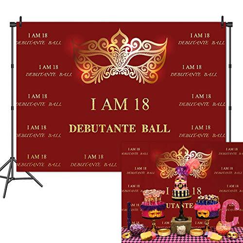 Mehofoto 18th Birthday Party Backdrop Debutante Ball I AM 18 Photography Background 7x5ft Vinyl Masquerade Birthday Party Banner Decoration Backdrops ()