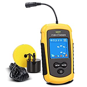 Lucky Portable Fishing Sonar, Wired Fish Finder Fishfinder Alarm Sensor Transducer with Colored LCD Dispaly from Lucky