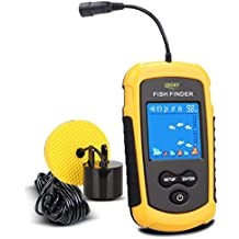 Lucky Portable Fishing Sonar, Handheld Wired Fish Finder Fishfinder Alarm Sensor Transducer with LCD Dispaly