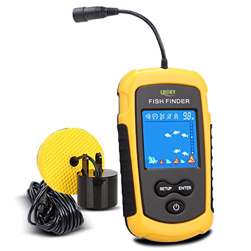 LUCKY Handheld Fish Finder Portable Fishing Kayak Fishfinder Fish Depth Finder Fishing Gear with Sonar Transducer and LCD Display (Track The Present Location Of Mobile No)