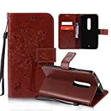 OuDu Printing Pattern Case for Motorola Moto X Play PU Leather Cover Flip Wallet Shell Silicone Inner Skin Book Style Bumper Tree&Butterfly Elegant Sleeve - Coffee