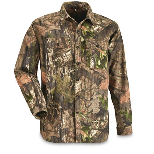 Guide Gear Men's Button Front Hunting Shirt, Mossy Oak Country Camo, L (Button Mens Front Shirt)