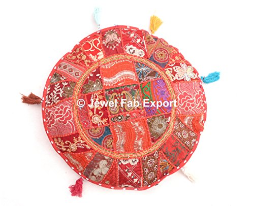 (Indian Patch Work Ottoman Round Floor Pouf Traditional Euro sham Indian Patch Work Pouf Outdoor Floor Pouf Assorted Patchwork Embroidered Round Euro Sham Outdoor Floor Pillow …POUF COVER)