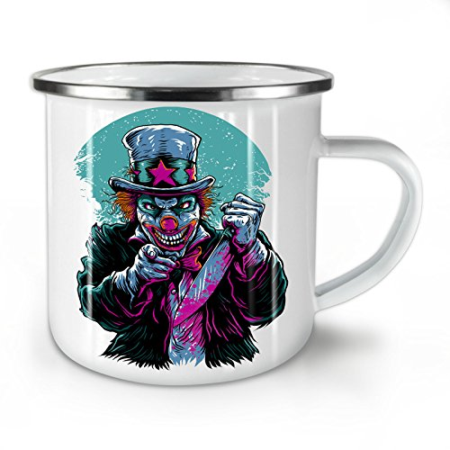 Clow Evil Scary Horror Enamel Mug, Cup - Strong, Easy-Grip Handle, Two Side Print, Ideal for Camping & Outdoors By Wellcoda -