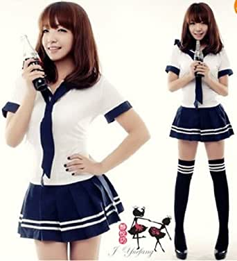 Amour-cute Sexy Japanese School Girl Sailor Uniform Cosplay Costume Size M (Regular Size, YJ7019)