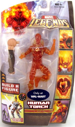 Marvel Legends Exclusive Limited Edition Build A Figure Collection Ares Series 6 Inch Tall Action Figure - VARIANT HUMAN TORCH with Ares Left Arm