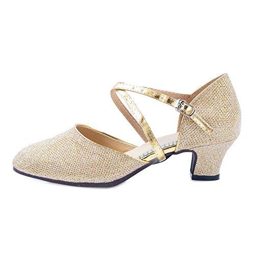 OCHENTA Shoes 3 Women's Ballroom Outdoor Gold Tango Mid Heel Low Party 5cm Salsa Dance Latin rTrCq
