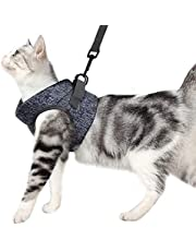 Cat Harness and Leash Set for Walking 360°wrap-Around Small Cat and Dog Harness Cushioning and Anti-Escape Suitable for Puppies Rabbits with Cationic Fabric