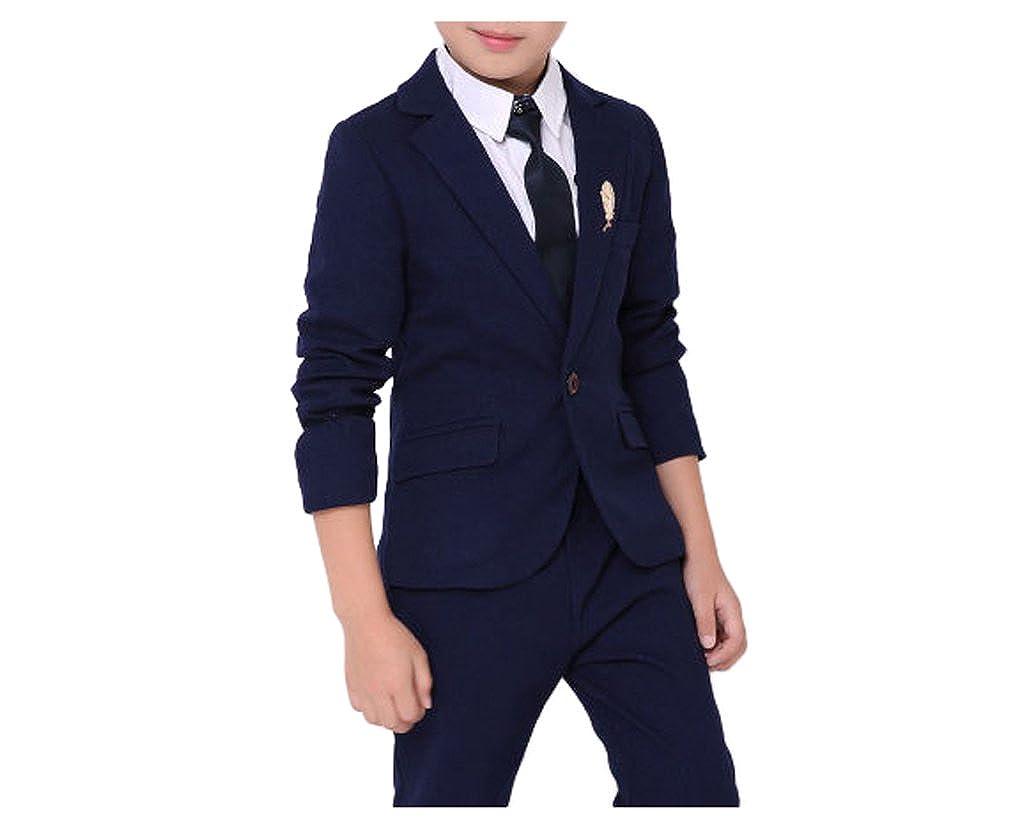 YUFAN Boys Black Blue Red 3 Colors Suit Set 2 Pieces Jacket and Pants Set Size 2T - 10