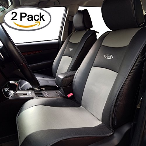 Waterproof Universal 2 PCS Car Seat Cushion Covers PU Leather Seat Protector Seats Mat by Big Ant - Fit for Car,Truck,SUV,or Van -Non-slip Rubber-soled - for Driver, Child, Baby Chair&Pet - Black&Gray (Density Is What Pet The Of)