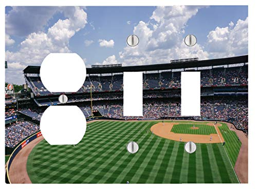 Baseball Park Stadium 3 Gang, 2 Toggle, 1 Outlet Wall Plate (6.56 x 4.69in) ()