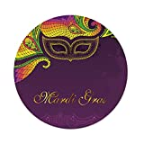 iPrint Polyester Round Tablecloth,Mardi Gras,Colorful Lace Style Corner Ornaments Calligraphy Dotted Mask Design Decorative,Purple Yellow Green,Dining Room Kitchen Picnic Table Cloth Cover Outdoor I