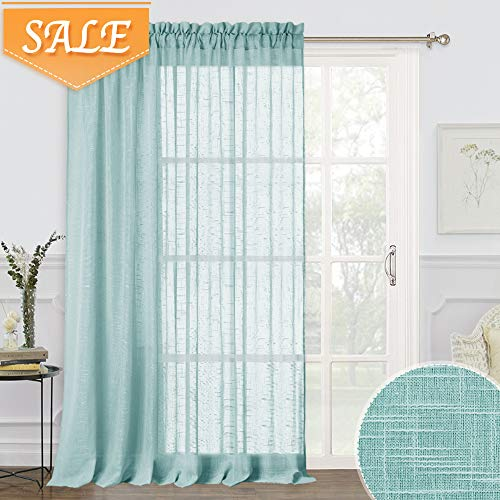 RYB HOME Semi Sheer Curtains for Bedroom, Privacy Large Window/Wall Panels, Semitransparent Voile Curtain Drapes for Living Room/Patio Door/Office, Blue Haze, 100