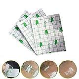 Zinnor 100Pcs Waterproof Transparent Adhesive Wound Dressing Fixer Plaster Stretch Fixation Tape (5cmX5cm)