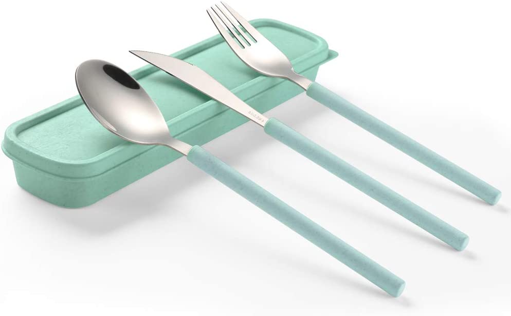 YBOBK HOME Portable Flatware Set with Case Stainless Steel Knife Fork and Spoon Reusable Flatware Set Dishwasher Safe Flatware Utensils with Colored Handle for To Go Anywhere (Green)