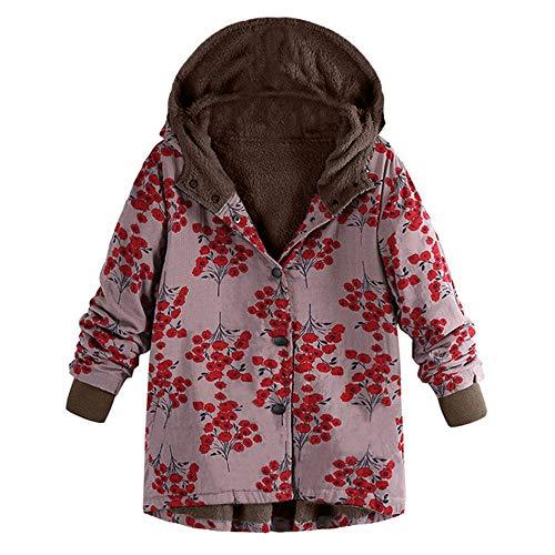 Womens Oversize Down Jackets Duseedik Winter Warm Outwear Floral Print Hooded Overcoat Pockets Vintage Oversize