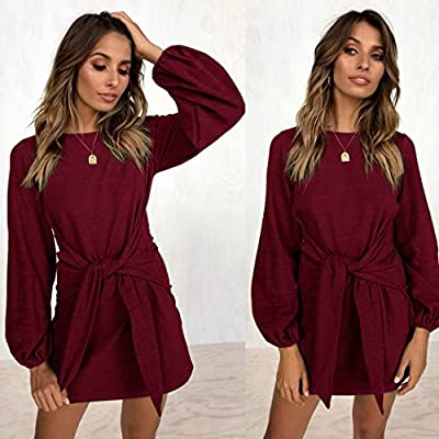 21efa7360b5 ECOWISH Womens Dresses Casual Long Lantern Sleeve Tie Front Crew Neck  Bodycon Mini Dress