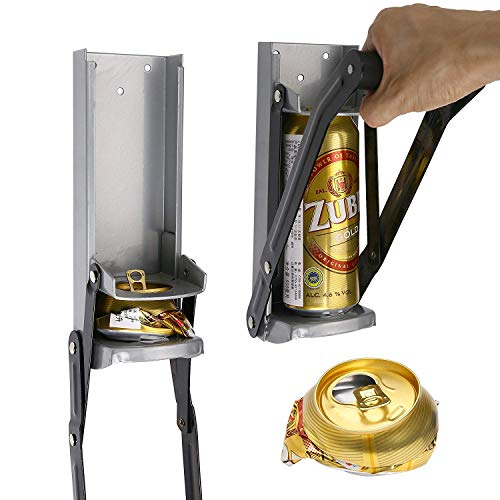 16 oz Cans Crusher wall mounted Soda Beer Can bottle Crusher Opener/Easy Pull Large Metal Auto Dispensing Soda Beer Smasher(16oz Grey)