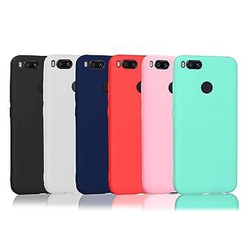 6 x Funda Xiaomi Mi A1, Wanxideng Carcasa Suave Mate en Silicona TPU - Soft Silicone Case Cover - 6 Fundas de Colores [ Negro + Rojo + Azul Oscuro + ...