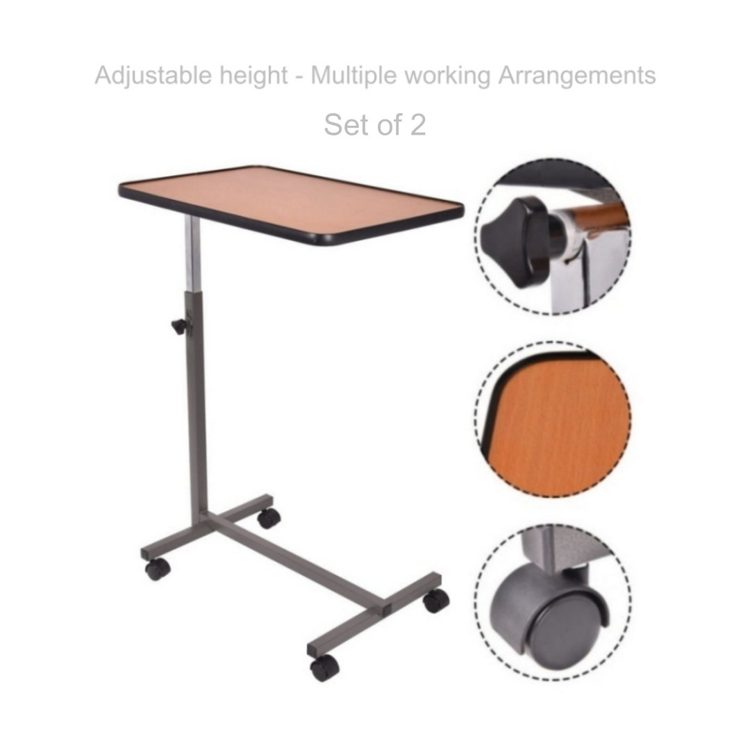 Laptop Notebook Smartphone Table Stand Portable Rolling Carts Height Adjustable Tilting Top Living Room Food Tray School Home Office Furniture - Set of 2 Brown #1828(2)