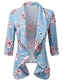 CLOVERY Women's 3/4 Sleeve Cotton No-Buckle Blazer Jacket Suits SAGEPINK 2X Plus Size
