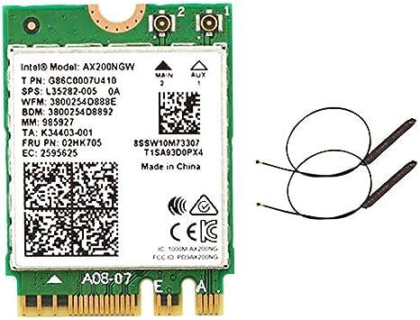 Bigpea Doble Banda 2.4Gbps Wi-Fi 6 AX200NGW 802.11Ax / AC MU-MIMO 2X2 WiFi AX200 NGFF M.2 5.0 Tarjeta WLAN de Red + Antena