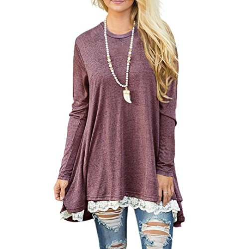 Christmas Dress,Kstare Womens Ladies Casual Lace Long Sleeve Shirt Pullover Tops Blouse T-shirt (Red, XL)