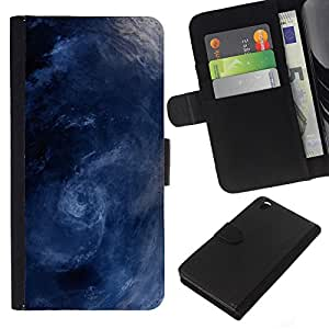 KingStore / Leather Etui en cuir / HTC DESIRE 816 / Tormenta Surf Sea Waves Remolino azul