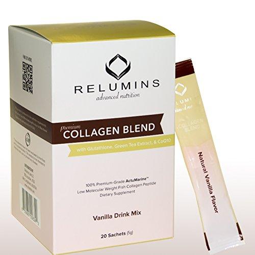 Relumins Premium Collagen Blend Powder Drink Mix - 20 Sachets - 100% Premium-Grade ActuMarine Collagen with Glutathione, Green Tea Extract and CoQ10 (Vanilla)