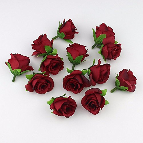 FLOWER Artificial silk Rose Head Scrapbooking Ball For Wedding Decoration 30pieces 4cm (burgundy)