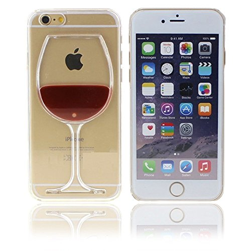 iPhone 7 Plus Case,Fashion Creative 3D Design Flowing Liquid Red Wine Glass Clear Back Protective Case Cover for Apple iPhone 7 Plus 5.5 inch