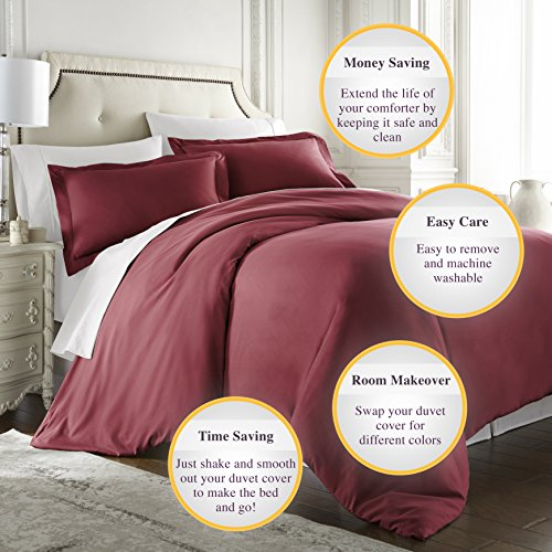 Hotel Luxury 3pc Duvet Cover Set-1500 Thread Count Egyptian Quality Ultra Silky Soft Premium Bedding Collection-King Size Burgundy