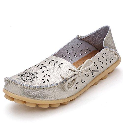 Lucksender Frauen aushöhlen Carving Casual Leder Fahren Flache Loafers Schuhe Golden