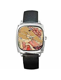 Art Lady with Large Flower Hat (My Fair Lady Look) Womens Silver Square Watch with Leather Band