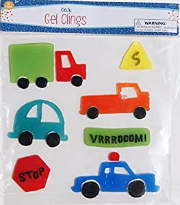 Boys' Bedroom Decor Gel Clings - Car Theme - 18 Piece