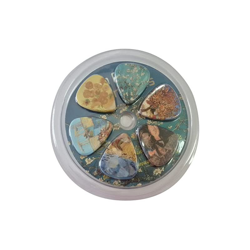 Van Gogh Famous Paintings Guitar Picks (12-Pack) - Almond Blossom Sunflowers Series - Celluloid Medium - Best Stocking Stuffer Gifts for Men Women