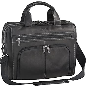 Kenneth Cole Reaction Colombian Leather Double Compartment Expandable Top Zip Computer Case Laptop Briefcase, Black, One Size 0