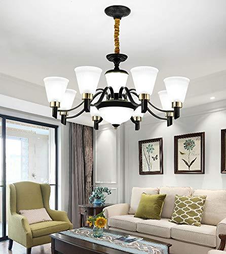 FZC-YM Ceiling Lights for Bedroom Led, Pendant Lampshade Glass Chandeliers Black Modern Iron Art Living Room Dining Room E27 Socket 110V-220V, 8
