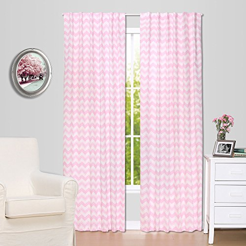 Pink Zig Zag Print Blackout Window Drapery Panels - Two 84 by 42 Inch Panels