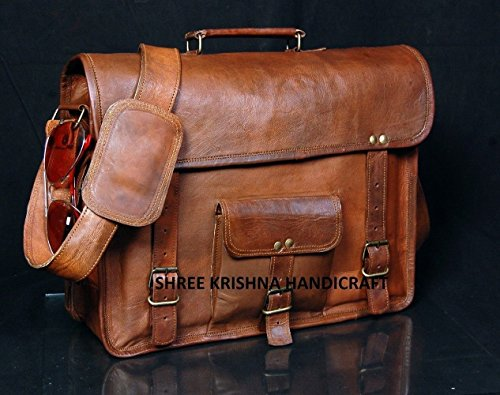 Leather Genuine Men's Auth Real Leather Messenger Laptop Briefcase Satchel Mens Bag (13 INCH)