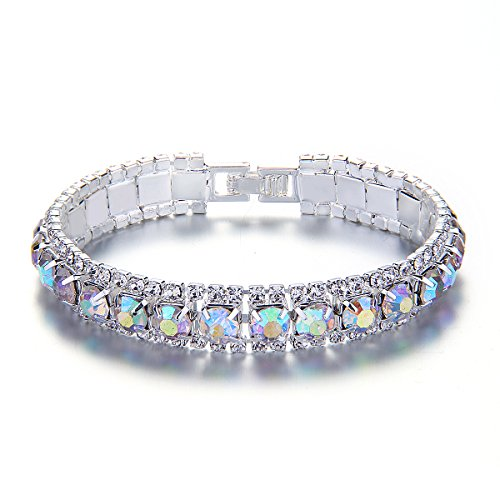 YUXI Rhinestone Bangle Bracelets Iridescent Clear AB Silver Crystal Link Wedding Bracelet for Women,Girls …