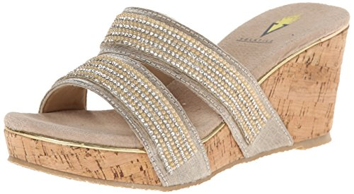 Volatile Women's Candied Wedge Sandal, Champagne, 7 B US
