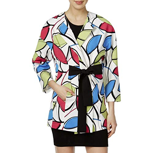 (Nine West Womens Printed Wrap Topper Jacket Green 14)