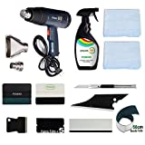 FOSHIO Window Film Installing Tool Set Include Vinyl Squeegee 4 Inch, Micro Fiber Felt and Towel Rag, Utility Art Knife, Razor Scraper, 500ML Sprayer, and Hot Air Gun 1800W with Temperature Display