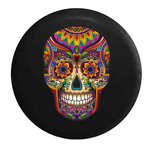 Sugar Skull Artistic Heritage Halloween Jeep RV Spare Tire Cover Black 33 in ()