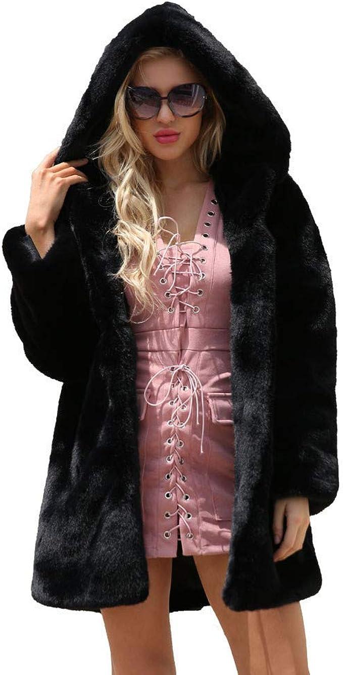 JUNMAONO Plüsch Coat Faux Wolle Faux Pelz Mäntel Damen Pelzmantel Felljacke Jacke Warme Plüschmantel Lose Elegant Kunstpelz Faux Kunstfell Overcoat