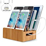 cell phone storage box - Real Bamboo Charging Station USB Charging Dock Storage Box Eco Friendly Desktop Stand Dock Holder For iPhone iPad Pro Smartphones,Cords Cable Organizer Compatible with Most 4/5/6 USB Charger.